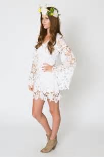 lace mini dress bell sleeve bohemian wedding dress