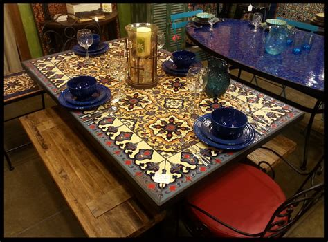 italian square ceramic tiles dining table 1950 for sale