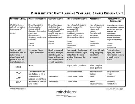 lesson plan template for differentiated mrs cook s how to differentiate your lessons