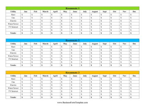 Roommate Utilities Tracker Template Utilities Spreadsheet Template