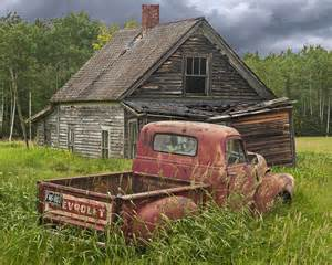 Composite photograph old abandoned homestead and truck by randall