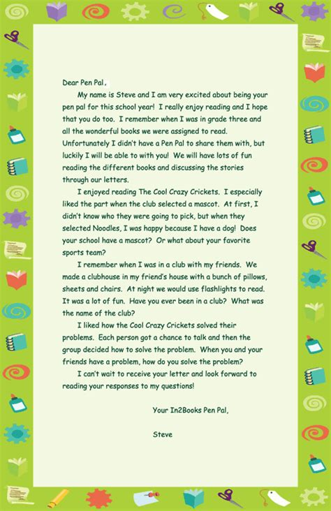 pen pal letter template book based on the book the cool crickets by richard