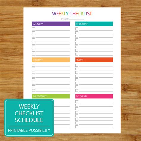 printable to do list with checkboxes weekly checklist printable weekly checklist brights