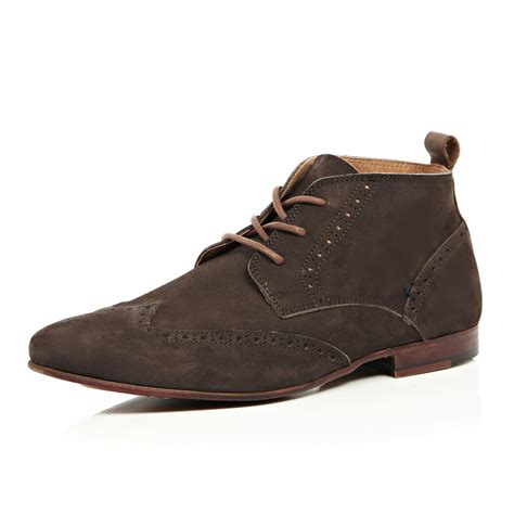 river island brown nubuck leather brogue chukka boots in