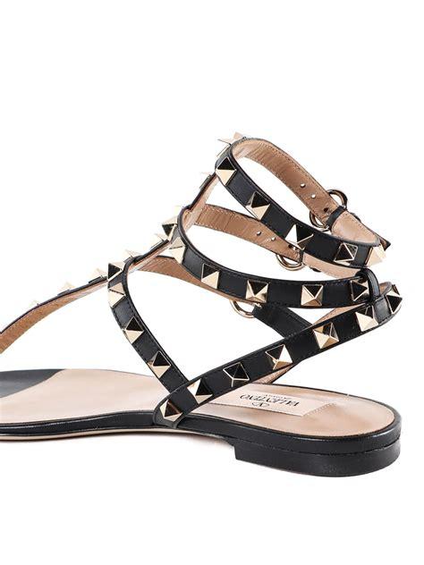 Leather Rockstud Sandals valentino garavani rockstud black leather sandals