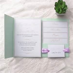 Wedding Invitation Boxes Cheap Simple Mint Green Pocket Lavender Ribbon Wedding Invitations Ewpi129 As Low As 1 69