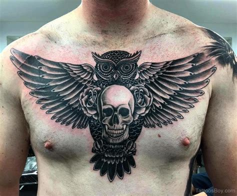 skull owl tattoo owl skull chest