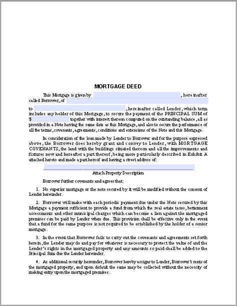 Mortgage Deed Form Free Fillable Pdf Forms Mortgage Deed Template