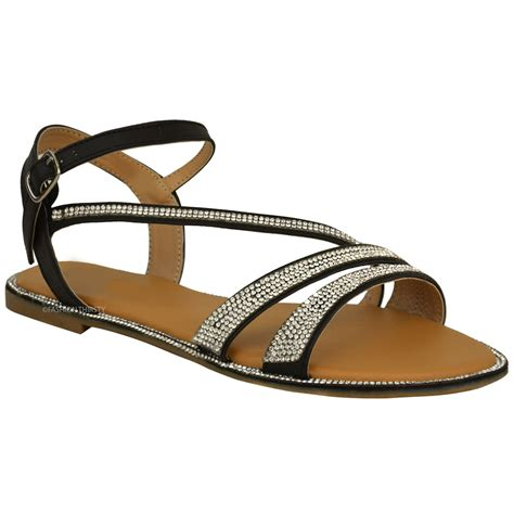 Strappy Flats womens flat strappy peep toe diamante ankle
