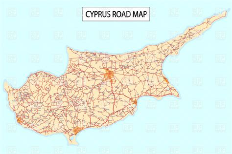 cyprus map vector road map of cyprus island vector image 6600 rfclipart