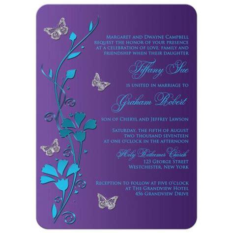 wedding invitation turquoise blue purple silver flowers butterflies