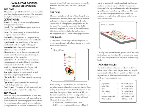 printable board game rules hand and foot card game rules for 4 players infocard co