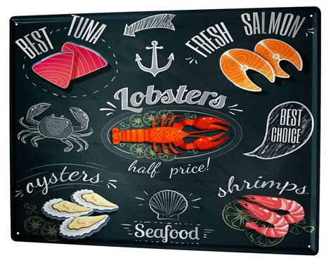 Metal Plate Metal Plaque Tin Signs tin sign food restaurant seafood metal plate plaque ebay