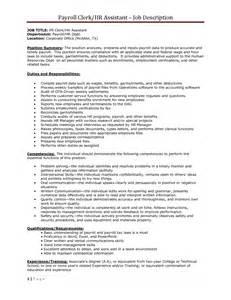 Payroll Assistant Description by Clerical Duties Description Resume