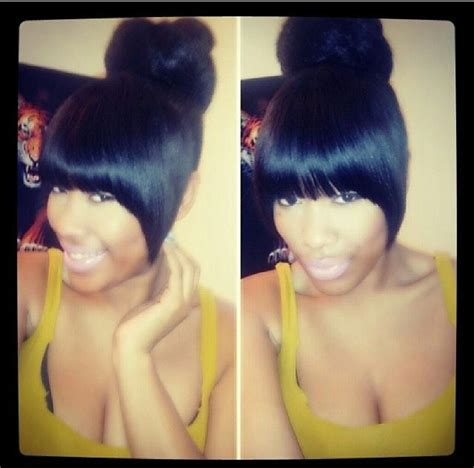 teen hairstyles for black girls bun and bang 11 weave styles that would have us feeling just a tad bit
