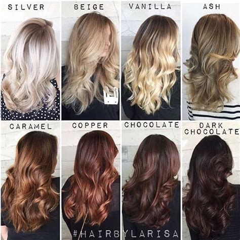 show color swatches for dyeing brunette hair one of our fave color charts of all time by larisadoll