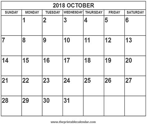 2018 October Calendar Printable 2018 October Calendar