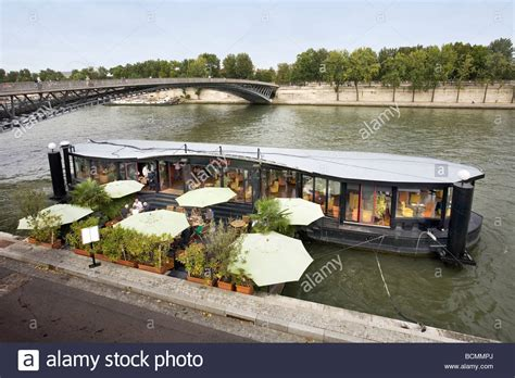 boat house tavern le quai restaurant boat on river seine paris france