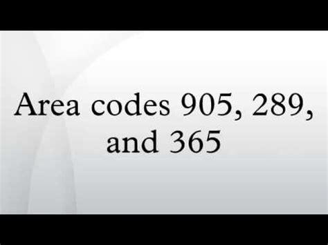 905 Area Code Lookup Area Codes 905 289 And 365