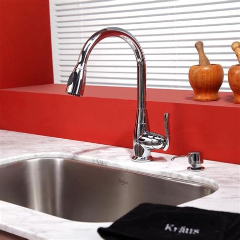 kraus single lever pull out kitchen faucet chrome kpf