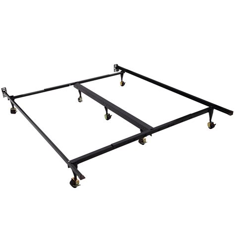 new adjustable king heavy duty metal sleeping bed frame platform w roller ebay