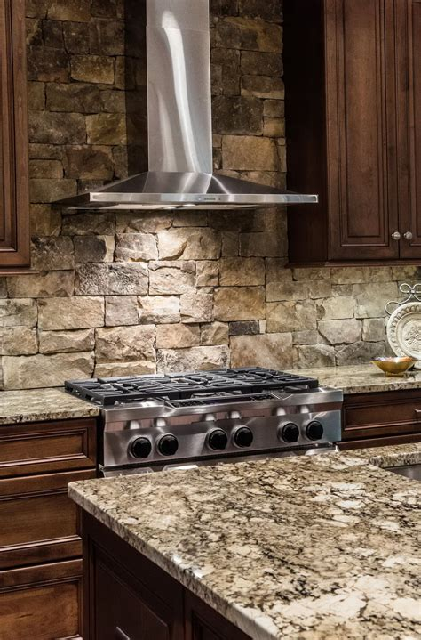 Dark Brown Cabinets Kitchen by Stacked Stone Backsplash Combination For Modern Kitchen