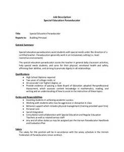 Paraprofessional Resume Sles by Functional Resume Special Education