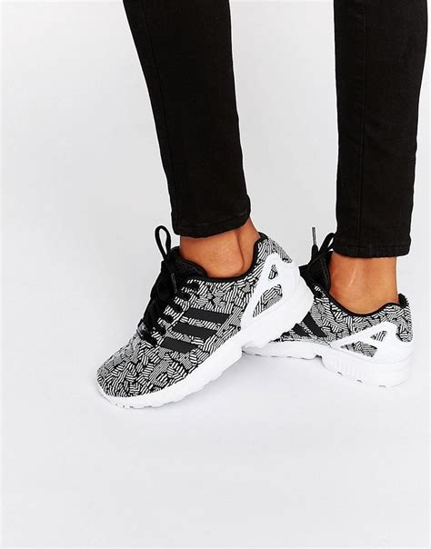 image 1 of adidas originals black print zx flux sneakers with side stripes my wishlist