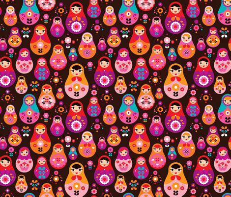 doll design wallpaper matryoshka russian doll kids pattern fabric by