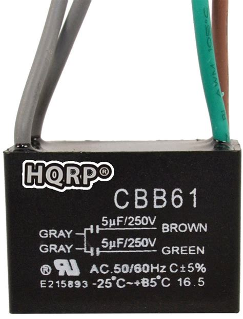cbb61 capacitor replacement hqrp ceiling fan capacitor 250vac 5uf 5uf 4 wire cbb61 replacement ebay
