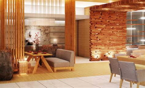 Cafe Kitchen Decorating Ideas by Wood Decoration In Restaurant Hall
