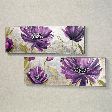 purple bathroom wall art purple allure floral canvas wall art set