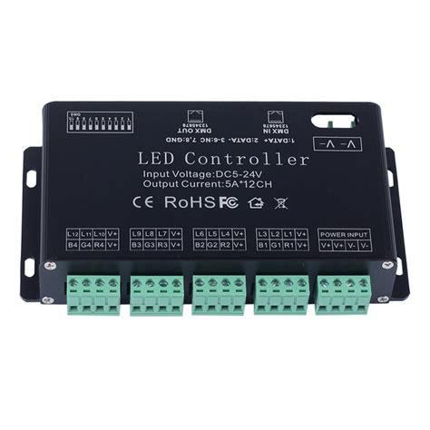 rgb led light controller 12 channel rgb dmx 512 led controller decoder dimmer