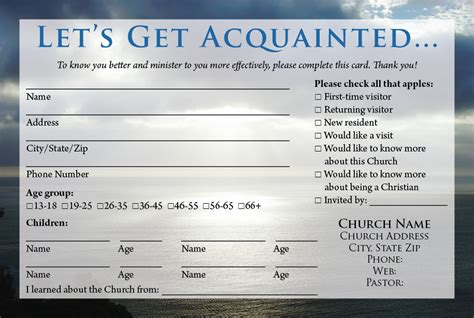 visitor card template church contact card template 28 images visitor card