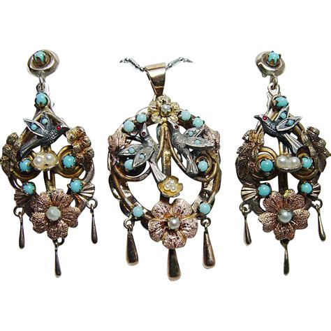 Chandelier And Pendant Light Sets Vintage Turquoise Bird Nest Chandelier Pendant Earrings Set From Luvmydiamonds On Ruby