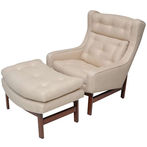 wing chair and ottoman a dunbar dark walnut wing chair and ottoman at 1stdibs