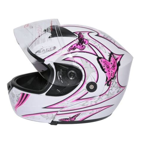 Playette 2 In 1 Support Butterfly Dot pink white butterfly flip up modular motorcycle helmet dot s m l in helmets from