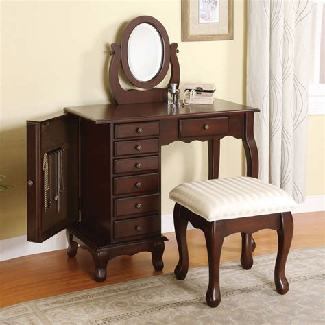 Jewelry And Makeup Vanity Table Boise Contemporary 3 Pcs Vanity Makeup Table Set Jewelry Storage Brown Ebay
