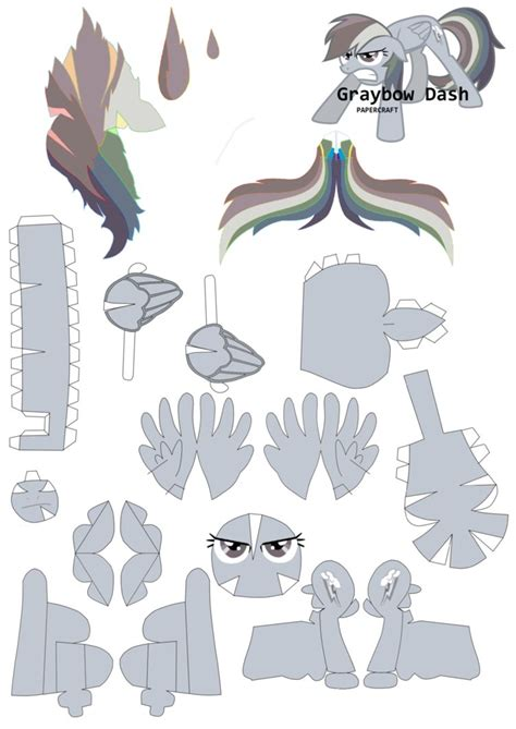 Papercraft Base - graybow dash papercraft pattern by rainyhooves
