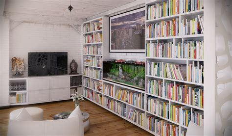 loft shelving rip3d industrial loft entertainment area library with multicolored books in white shelves