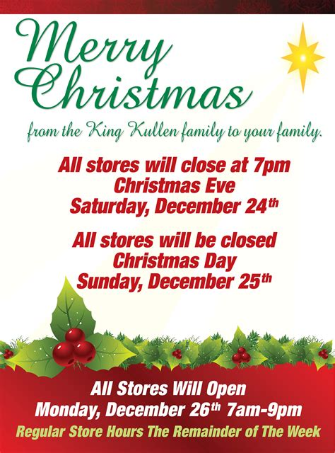 christmas store hours king kullen