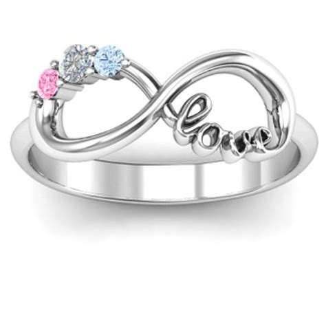 customised infinity promise ring with birthstone infinity