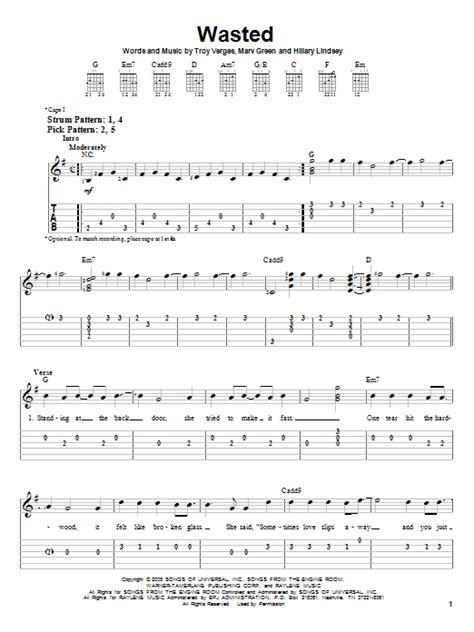 all american girl carrie underwood guitar chords wasted sheet music direct
