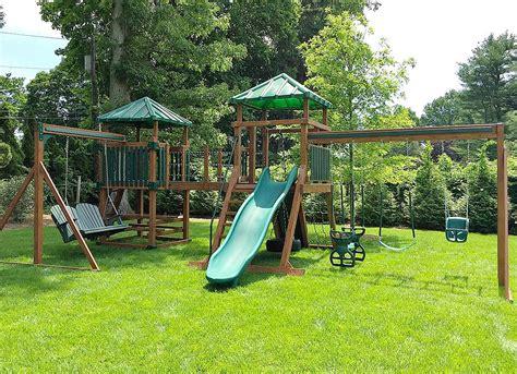 swing center swing set peninsula all cedar playset backyard discovery