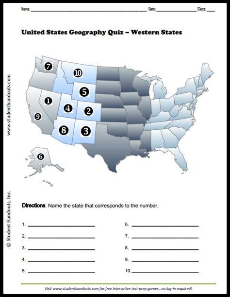 map quiz of the united states western united states map quiz free to print pdf file