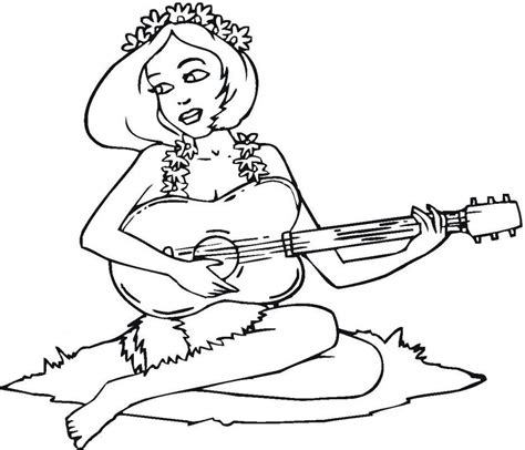 girl guitar coloring page hawaiian girl playing the guitar coloring page coloring home