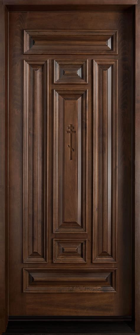 Solid Wooden Front Doors Front Door Custom Single Solid Wood With Walnut Finish Classic Model Db 095 Cst