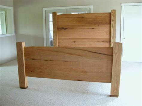 Rustic Oak Bed with Custom Headboard and Footboard: By