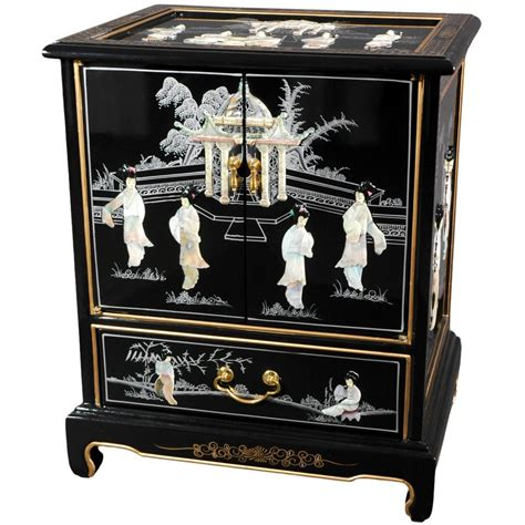 japanese black lacquer cabinet oriental furniture black lacquer end mother of pearl