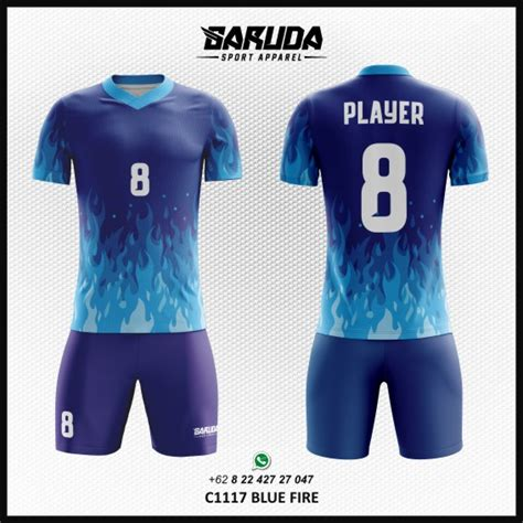 desain kaos keren warna biru desain kaos futsal printing blue fire gambar api warna